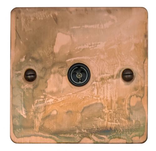 G&H FTC35B Flat Plate Tarnished Copper 1 Gang TV Coax Socket Point
